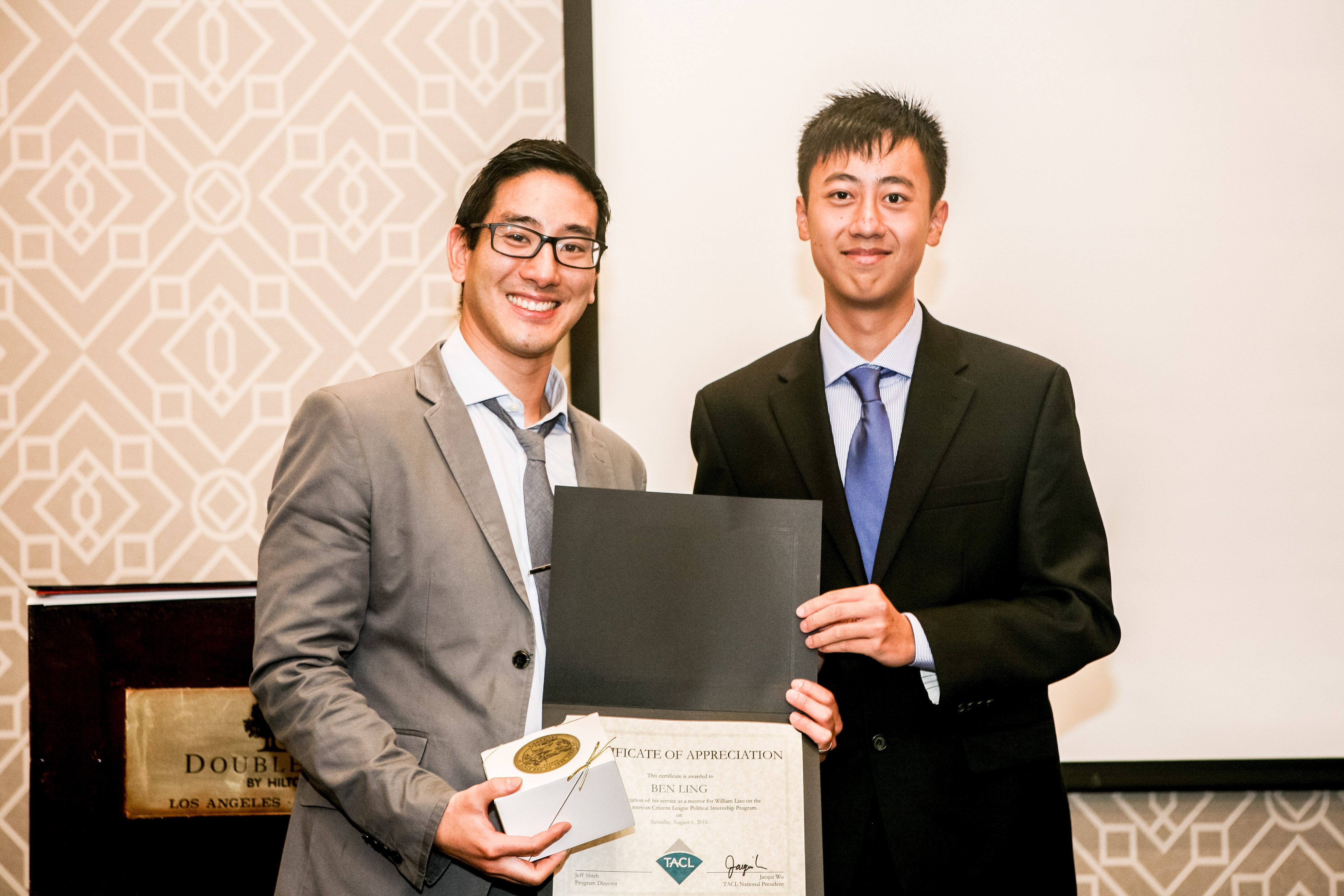 William with his mentor, Ben Ling, former TACL President.