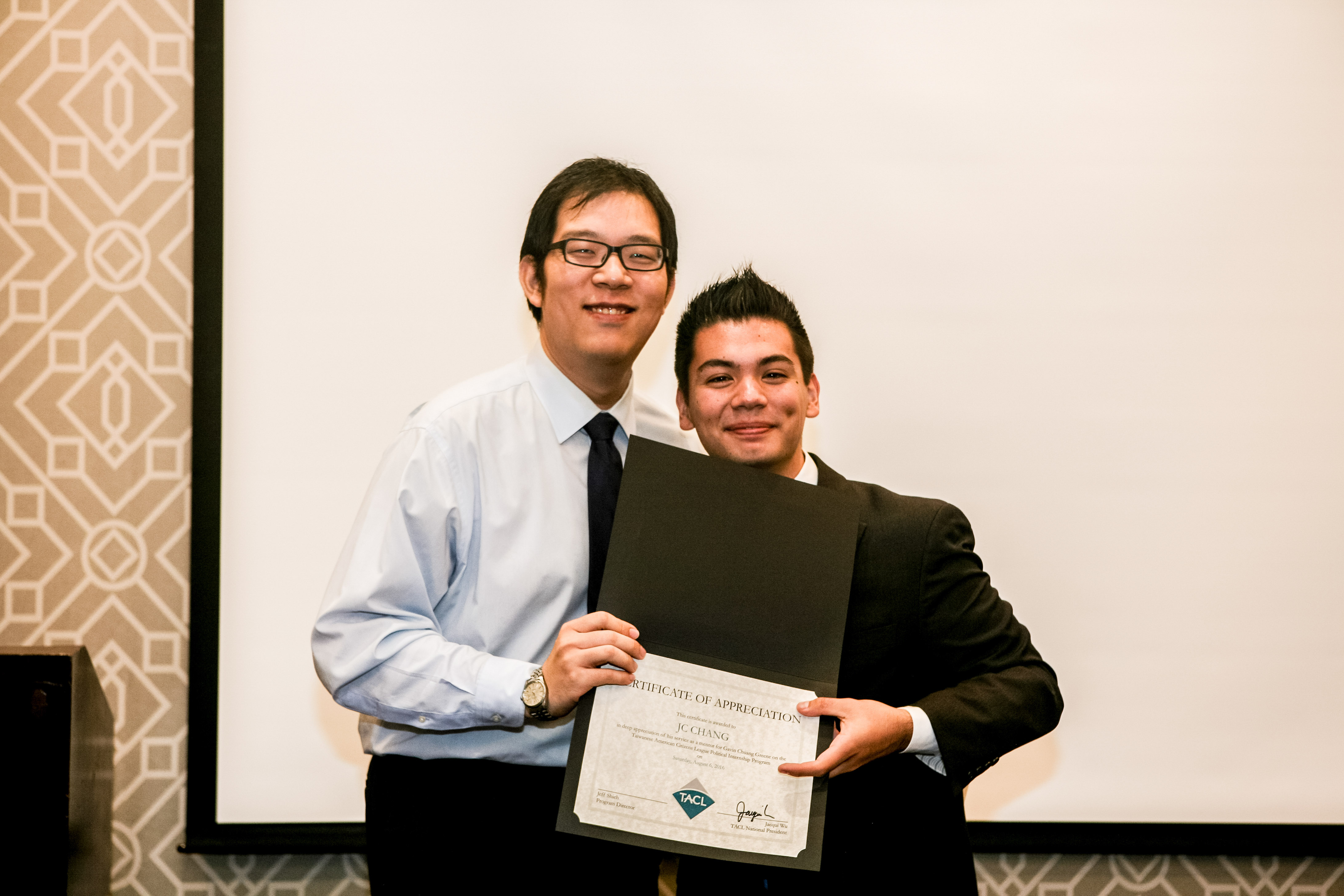 Gavin with his mentor, JC Chang, TAP-LA President.