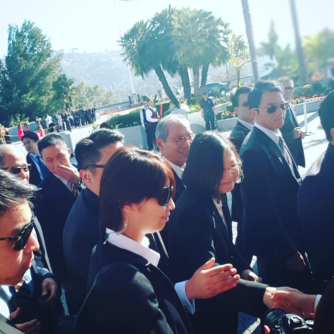 That is us, shaking President Tsai's hand.